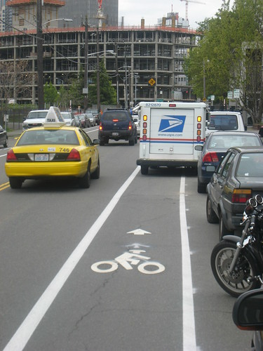 New Bike Lane on 9th Seattle -- supposedly _much_ safer than Westlake.