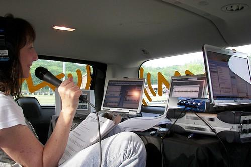 claire b lang inside XM Mobile Unit