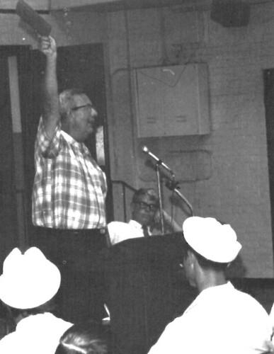 Registrar George Germain at Freshman Orientation. 1969 Yearbook page 100.