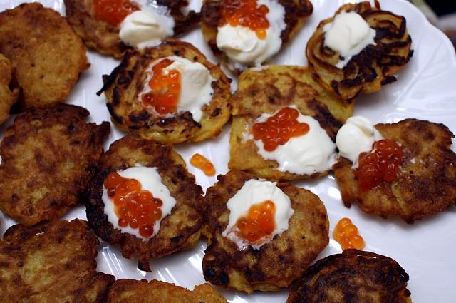 caviar + creme fraiche + latke