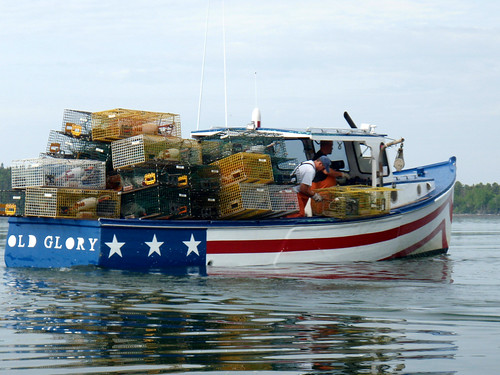 Maine Lobster Boat. Old Glory