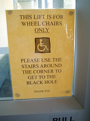Please use the stairs to get to the black hole