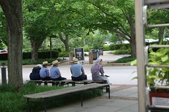 Amish kids outside entrance to Gardens