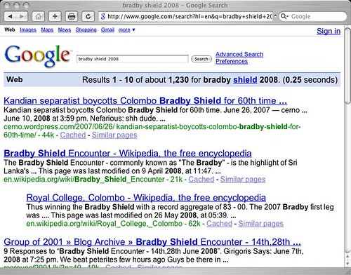 Bradby Shield 2008 Search results page for google.com