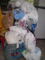 plastic bags awaiting recycling