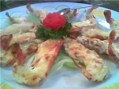 Baked cheese prawns