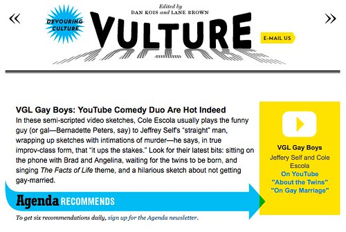 VGL Gay Boys: YouTube Comedy Duo Are Hot Indeed -- Vulture -- Entertainment & Culture Blog -- New York Magazine