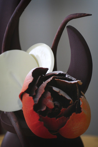 Chocolate Rose and White Chocolate Leaves