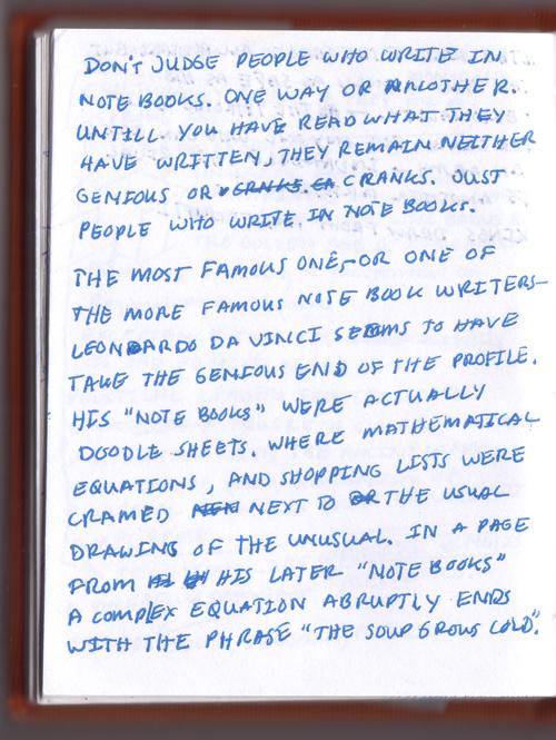 Handwritten blog post page 1