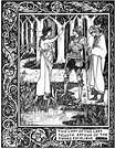 Aubrey Beardsley. The Lady of the Lake Telleth Arthur of the Sword Excalibur.  Le Morte d'Arthur. 1894.