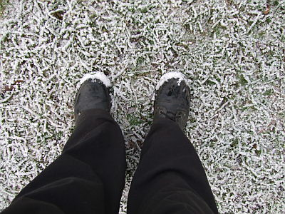 the grass is frozen solid, so its crunchy underfoot, then topped with the light dusting of snow.. its very pretty.