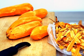 peeling sweet potatoes