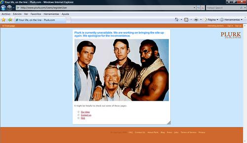 Curiosa pantalla de caída de Plurk