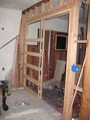 Pocket door frame installed