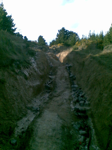 A rutty section of Worsley Track
