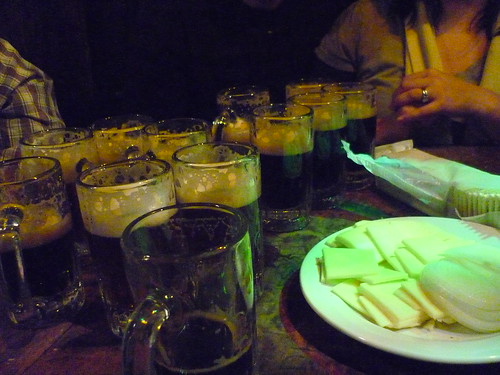 Beer and cheese in McSorley's, NYC