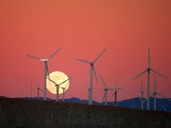 Moon Rise behind the San Gorgonio Pass Wind Farm
