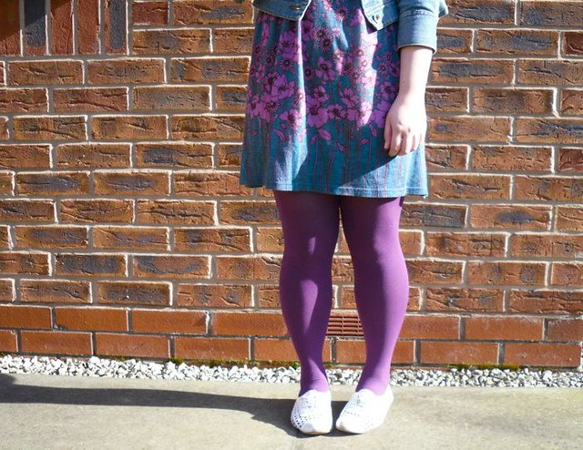 Purple tights and floral dress