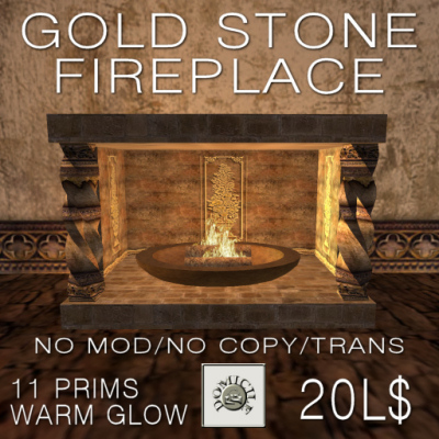 Domicile Gold Stone Fireplace