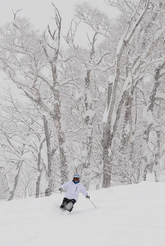 Cathy in light powder over a groomed run at Hanazono this morning