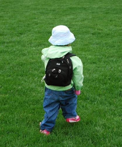 Jenna in feeding backpack