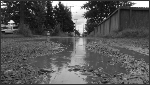 Huge and still-growing puddle, alley in Mt. View.