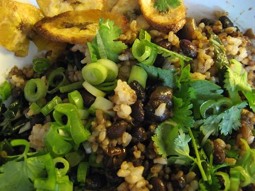 Black Beans & Rice, Fried Plantains, Collard Greens