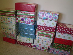 Shoebox project for the elderly at Christmastime.