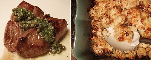 Tri-Tip Salsa Verde, Spicy Roasted Cauliflower