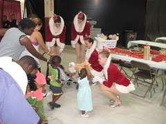 Rockettes visit Auchan Shelter in Houston