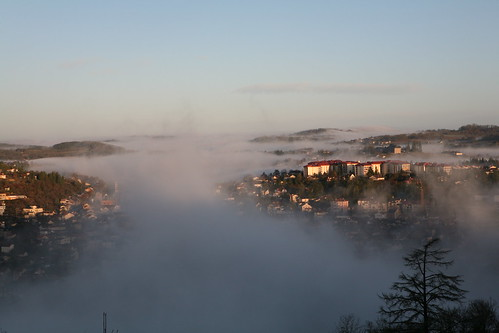 Fog in the valley, Villefrance France