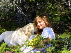 Sebago & my daughter in Maine.