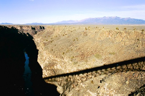 Shadow Of A Bridge, looking out from the Rio Grande Gorge Bridge, outside of Taos, New Mexico, January 2003, Tri-X, black and white film photo © 2003-2008 by QuoinMonkey. All rights reserved.