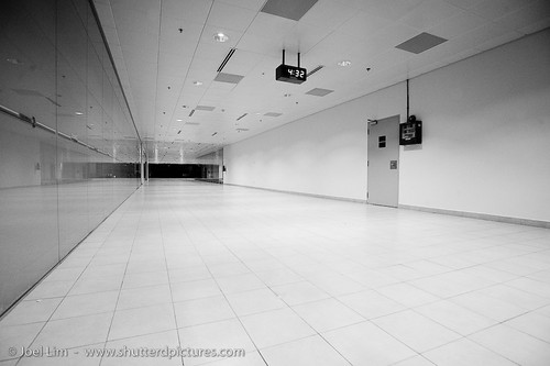 empty hallways of a busy airport