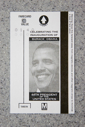 the DC subway ticket, special version for Obama inaugurantion
