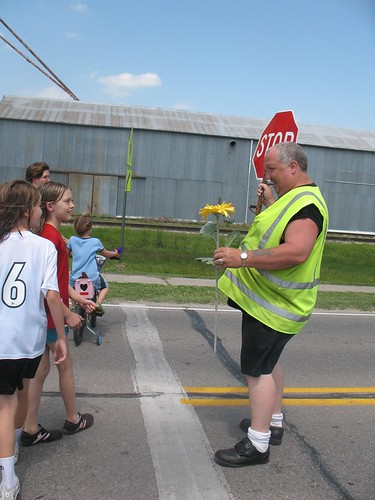 flower for the crossing guard