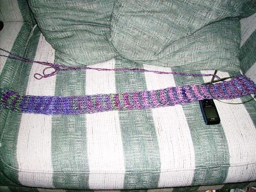 Silk Garden Chunky Noro Striped Scarf in progress 6.27.08