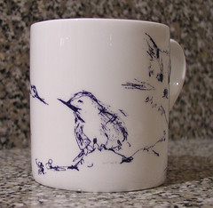 Bird on my new Tracey Emin mug I bought at the Royal Academy