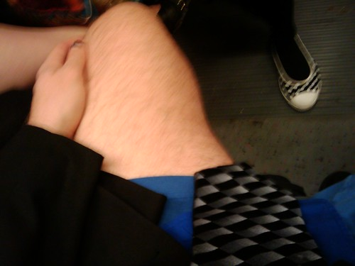 My pantsless legs on MUNI