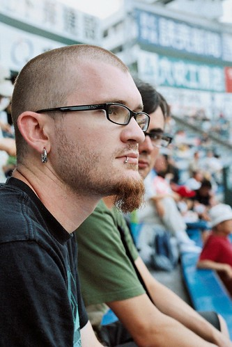 Picture of Shaun and our travel mate Michael at the Carps game, Hiroshima, Japan