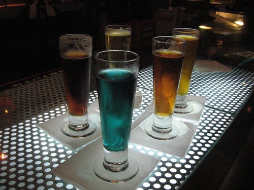 Were pretty sure these are four perfectly ordinary beers with Star Trek-ish names, plus one perfectly ordinary beer with food coloring.