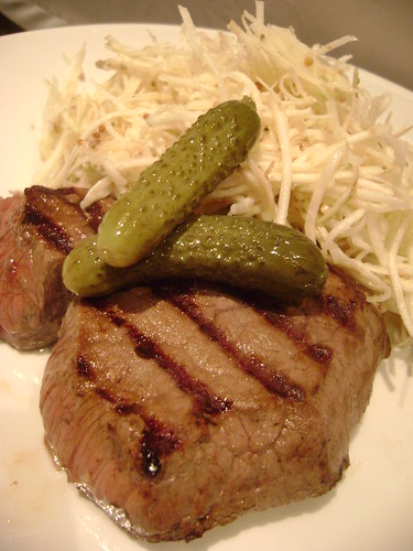 Beef Steak with Celeriac Remoulade and Cornichons