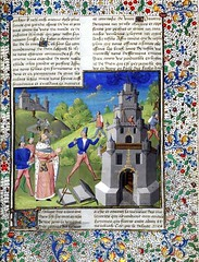 Full page with miniature of Nimrod and the Tower of Babel