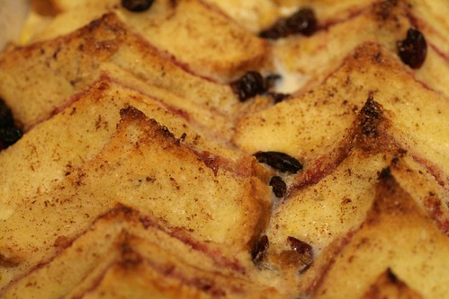 Golden top of bread and butter pudding