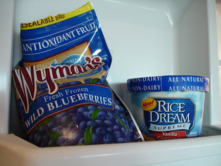 Two blue things that go straight in the freezer together