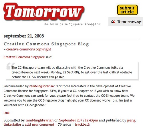 Tomorrow - Bulletin of Singapore Bloggers