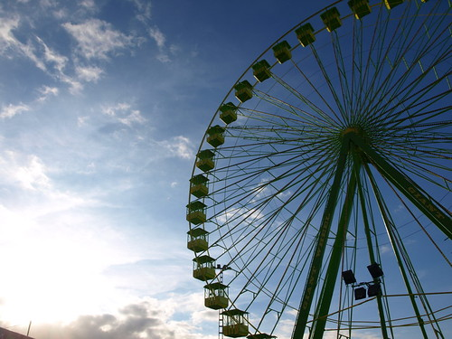 The hard to ignore, giant, green Big Wheel at Puertos annual fair