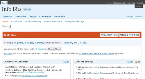 Screenshot da nova versão do Dashboard do WordPress.com