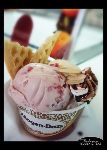 Strawberry Ice Cream with Waffle and Nuts at Haagen Dazs