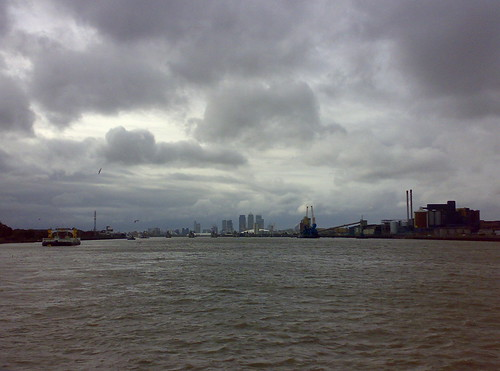 Canary Wharf & the Dome, viewed from the Woolwich Free Ferry